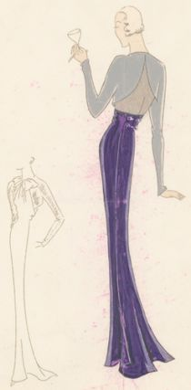 Pl. 17. Eggplant gown with silver, long sleeves and scalloped, cut-out back, and a bolero jacket...