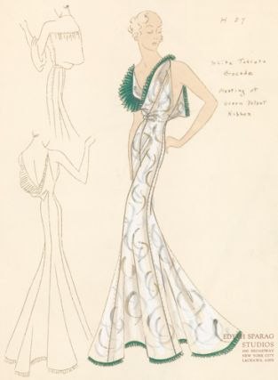 Pl. 27. White taffeta brocade gown with cowl neck, trimmed with pleated green velvet ribbon. Original Fashion Illustration.