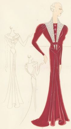 Pl. 16. Red crepe gown with long, puffed sleeves, accented with a stitched, graphite lamé collar...