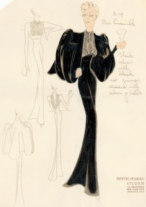 "Pl. 19. Black velvet ""Bar Ensemble"" gown with ascot neck and studded capelet.Original Fashion..."