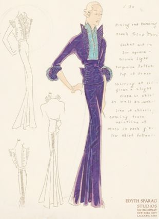 Pl. 24. Purple and blue, tulip moiré jacket with ruched sides and pleated sleeve trimming. ...