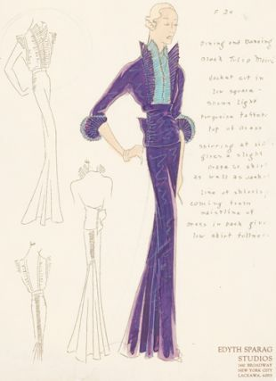 Pl. 24. Purple and blue, tulip moiré jacket with ruched sides and pleated sleeve trimming. Original Fashion Illustration.