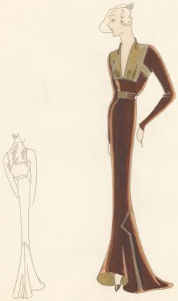 Pl. 21. Espresso, long-sleeved gown with square-cut, plunging neckline with gold details and...