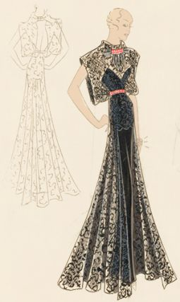 Pl. 22. Navy lace slip with kimono sleeves, ascot, and open back, over sweetheart gown, with...
