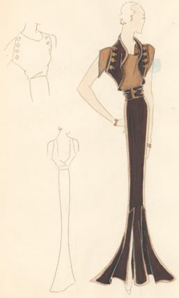 Pl. 20. Espresso mermaid gown with cowl neck and buckle, and a button-up shrug. Original Fashion...