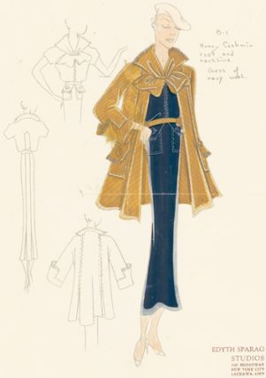 Pl. 1. Navy wool, belted gown with button pockets, and a honey cashmere coat with bow detail....