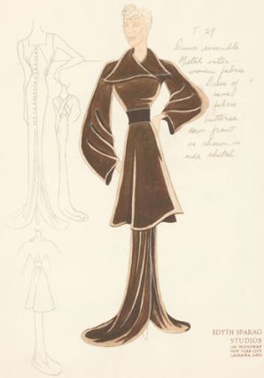 Pl. 29. Sepia-colored, button-down gown with square neck and cross straps, and a wrap-around,...