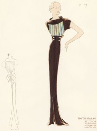 Pl. 19. Cowl-neck, shortsleeve gown in sepia brown with gold, silver, and emerald striped yoke. Original Fashion Illustration.