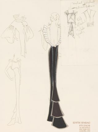 Pl. 23. Black gown with white, ruffled trim on neck with open back, exposing beaded narrow...