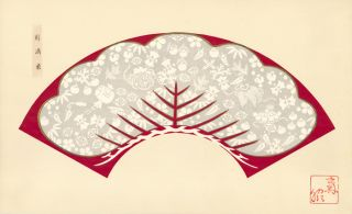 Red background with gray and white decorative tree. Japanese Fan Design. Japanese School.