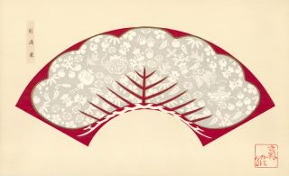 Red background with gray and white decorative tree. Japanese Fan Design.