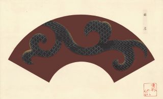 Black and silver vine motif on a maroon background. Japanese Fan Design.
