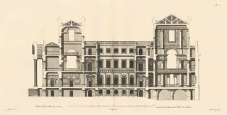 Section of the Mansion House. A Compleat Body of Architecture. Matthias Darly