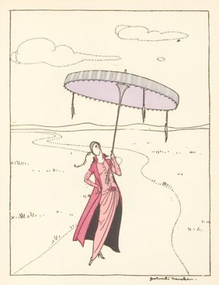 Woman in a Red Dress Holding a Large Umbrella. Le Dessus du Panier. Zoe de Borelli-Vranska