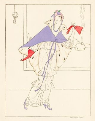 Woman in a White Dress with a Purple Cape. Le Dessus du Panier. Zoe de Borelli-Vranska