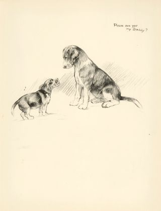 Beagle and Puppy. Just Dogs: Sketches in Pen & Pencil. Kathleen Frances Barker