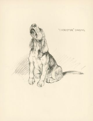 Beagle Puppies. Reverse: 'Chorister' Singing. Just Dogs: Sketches in Pen & Pencil.