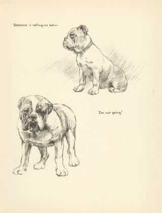 Beagle. Reverse: Bulldog. Just Dogs: Sketches in Pen & Pencil.