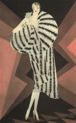 Large, striped fur coat and turquoise bracelets. Trade Catalogue. Reynaldo Luza, Revillon...