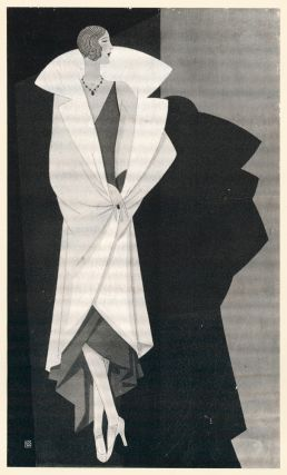 Large white fur coat with oversized lapels, on geometric background. Trade Catalogue. Reynaldo...