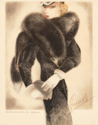 Black Broadtail and Silver Fox coat. Trade Catalogue. Unknown