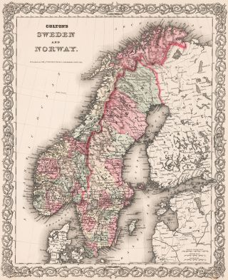 Colton's Sweden and Norway. J. H. Colton, after 1859. Hand-colored wax engraving New York