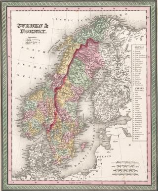 Sweden and Norway. A New Universal Atlas. Samuel Augustus Mitchell