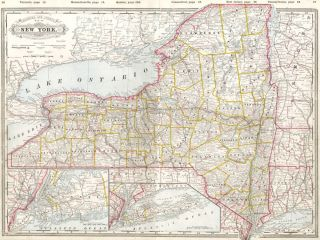 Railroad and County Map of New York. Cram's Standard American Atlas of the World. George Franklin...