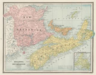 Nova Scotia and New Brunswick, with Prince Edward Island and Newfoundland. Cram's Unrivaled Atlas...
