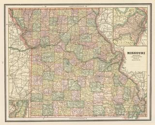 Missouri, with Iowa on the verso. Cram's Unrivaled Atlas of the World. George Franklin Cram