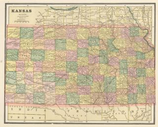 Kansas. Cram's Unrivaled Atlas of the World. George Franklin Cram