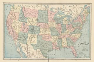The United States. Cram's Unrivaled Atlas of the World. George Franklin Cram
