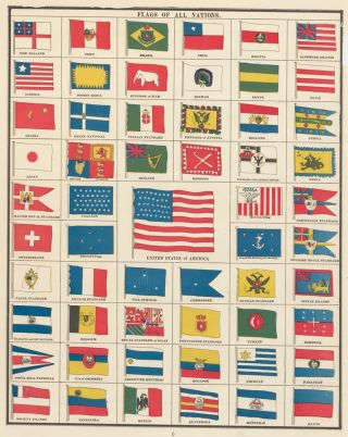 Flags of All Nations. Cram's Unrivaled Atlas of the World. George Franklin Cram