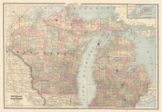 Michigan and Wisconsin. Cram's Unrivaled Atlas of the World. George Franklin Cram