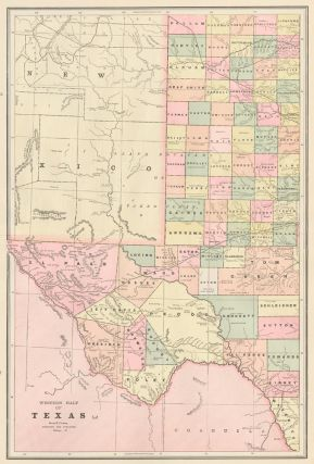 Western Half of Texas. Cram's Unrivaled Atlas of the World. George Franklin Cram
