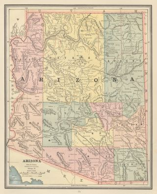 Arizona. Cram's Unrivaled Atlas of the World. George Franklin Cram