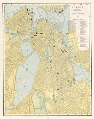Boston. Cram's Unrivaled Atlas of the World. George Franklin Cram