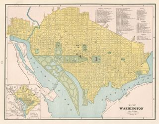 Washington DC. Cram's Unrivaled Atlas of the World. George Franklin Cram