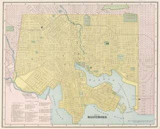 Baltimore. Cram's Unrivaled Atlas of the World. George Franklin Cram