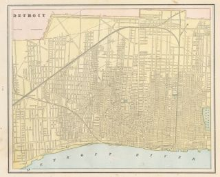 Detroit. Cram's Unrivaled Atlas of the World. George Franklin Cram