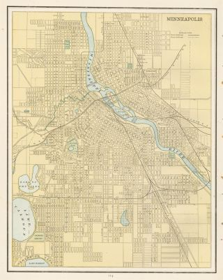 Minneapolis. Cram's Unrivaled Atlas of the World. George Franklin Cram