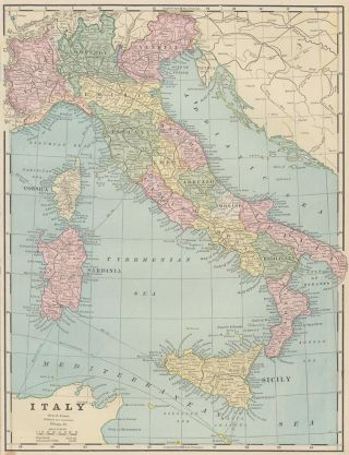 Italy. Cram's Unrivaled Atlas of the World. George Franklin Cram