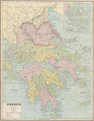 Greece. Cram's Unrivaled Atlas of the World. George Franklin Cram