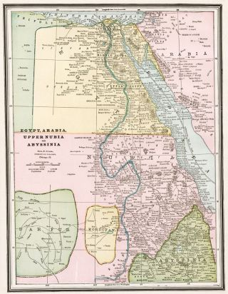 Egypt, Arabia, Upper Nubia and Abyssinai. Cram's Unrivaled Atlas of the World. George Franklin Cram