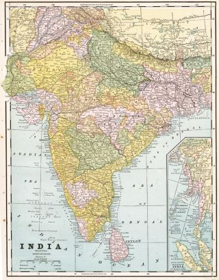 India. Cram's Unrivaled Atlas of the World. George Franklin Cram