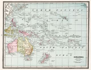 Oceanica. Cram's Unrivaled Atlas of the World. George Franklin Cram