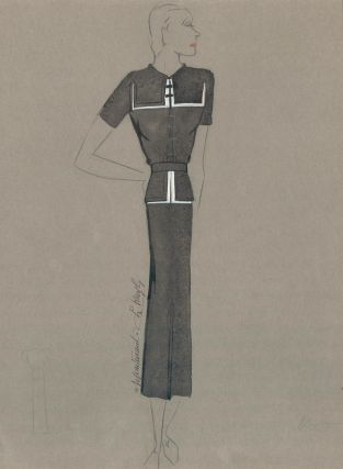 Black and White Sailor Dress. Signed by the artist. Fashion Illustrations. Charlotte Revyl