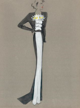 Black and white gown with floral detail. Fashion Illustrations. Charlotte Revyl