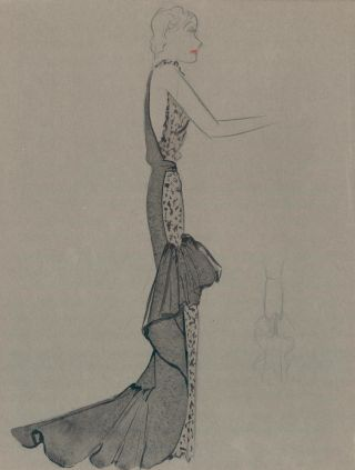 Black and Animal Print Mermaid Ruffle Gown. Fashion Illustrations. Charlotte Revyl