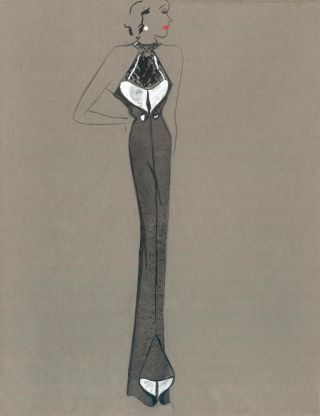 Black and White Halter Gown with Pleat Detail. Fashion Illustrations. Charlotte Revyl